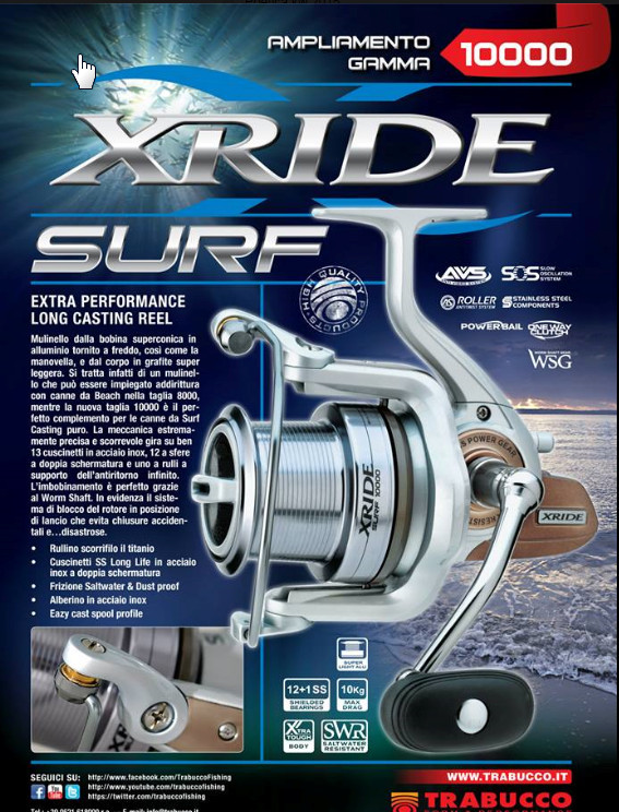 Trabucco X RIDE  surf beach casting reel with long tapered spool  5500 beach 8000 and 10000 size 00003