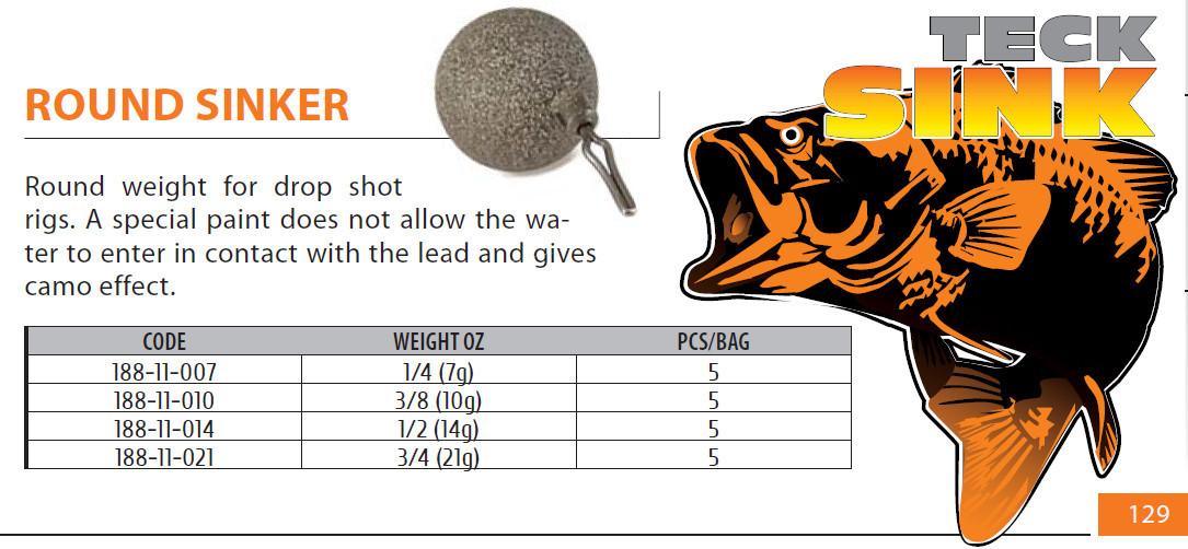 drop shot weights  4 sizes  2 types
