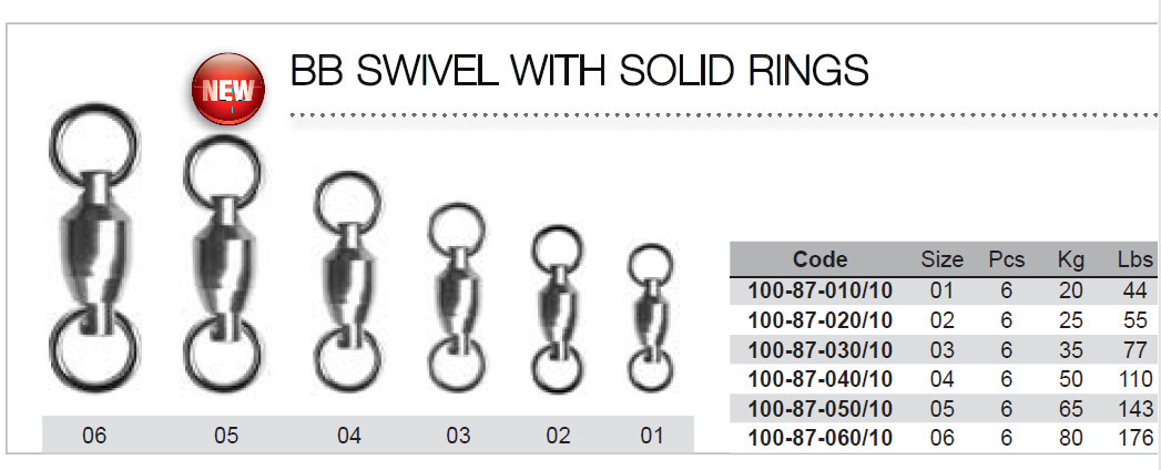 Ball bearing swivels with solid rings