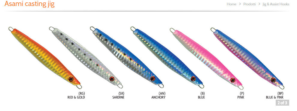 Asami casting jigs  60g silver and anchovy , very strong hooks