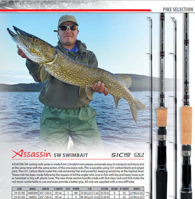 Assassin Swim Bait and Big Jerk Pike rods casts to 6 oz.