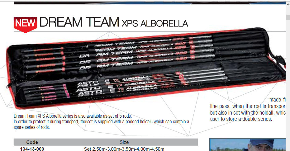 Full Set Of 5 Whips 2.5 to 4.5m XPS Dream Team Alborella