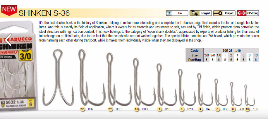 Shrinken S 36 open welded double hooks  6 per pack