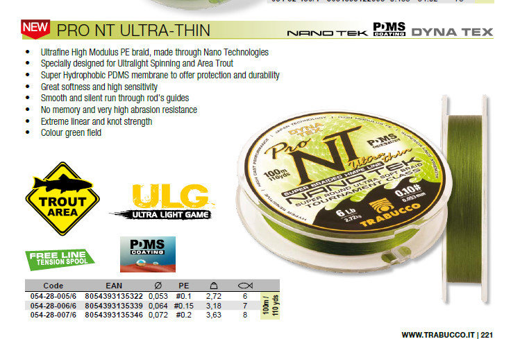 Pro NT Ultra thin lure Braid  from  0,053  pe #0.1 2,72kg   6lb  .       8lb bs now available at low cost for trials. 00484