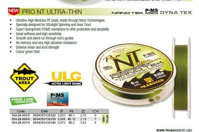 Pro NT Ultra thin lure Braid from 0,053 pe #0.1 2,72kg 6lb . 8lb bs now available at low cost for trials.