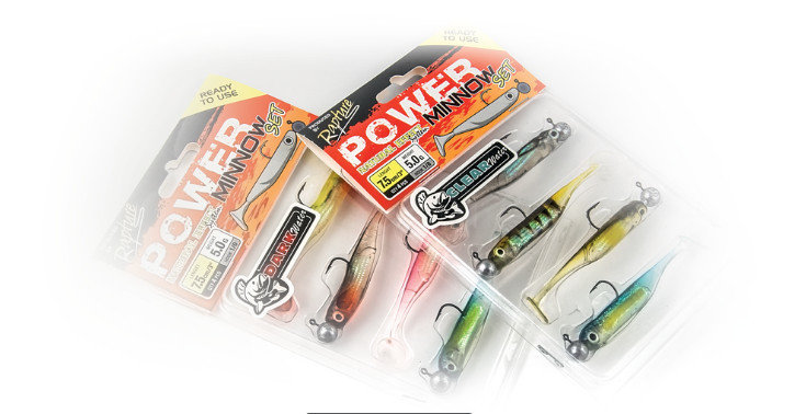 Rapture Power Minnow sets 4 per pack Clear or Dark Water, 75mm 5g heads 1/0 hook 00495