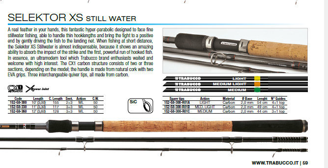 Selector XS stillwater feeder rods   10 foot 50g  ML 3 tips