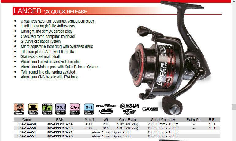 Lancer CX quick release feeder reel 00548