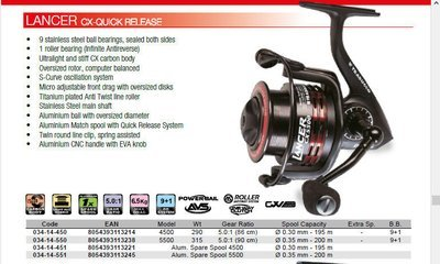 Lancer CX quick release feeder reel