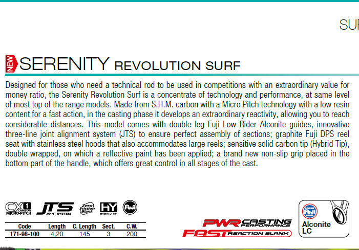 Serenity Revolution surf 420   full fuji low rider Alconite rings and DPS reel seat.