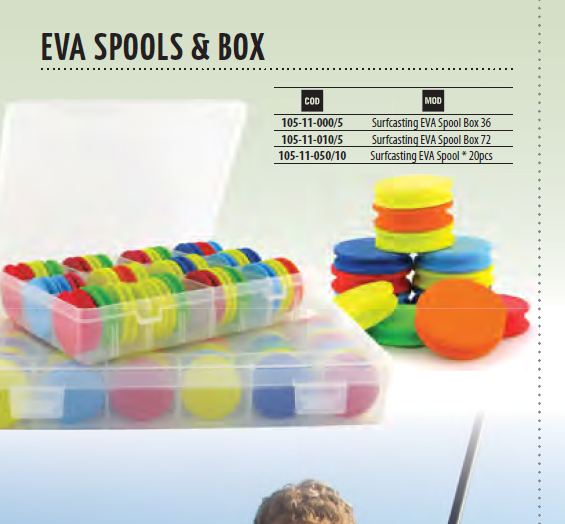 Surfcasting EVA spools 36 or 72 per racked box. Colour coded 00018