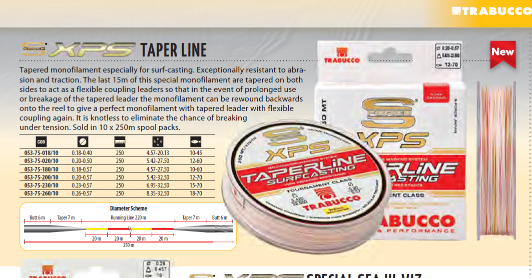 XPS  TAPERED LINE for surf casting  10 lb to  45lb to 18lb to 70lb available. 00022