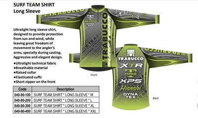 Trabuuco 2019 Technical Surf fishing Team Shirts long and short sleeve