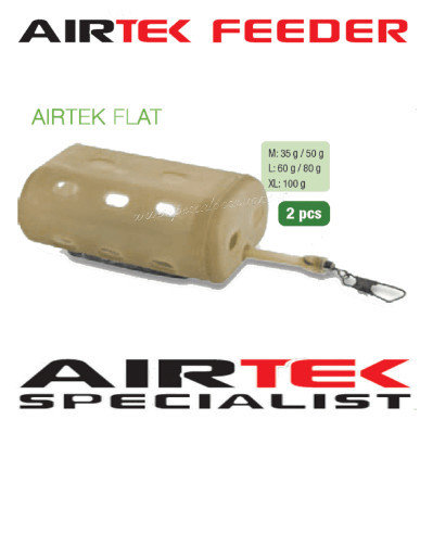 Air tek flat feeder 35g to 100g 2 per pack per for rivers and maggot s 00609