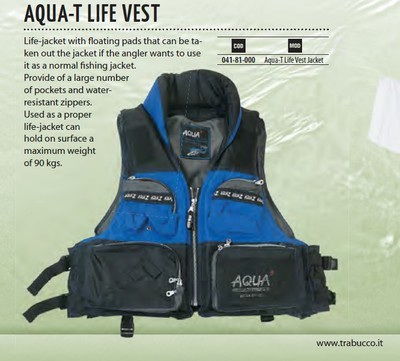 Aqua T PFD floation vest for lure fishing
