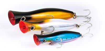 Raiden Pop . 200m 155g. 160m 90g versions , Gt special poppers 6 colours