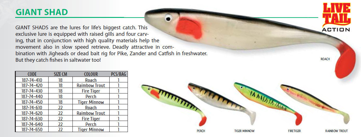 Giant shad  perch and roach available  22cm