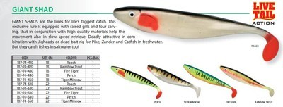 Giant shad perch and roach available 180CM 220cm