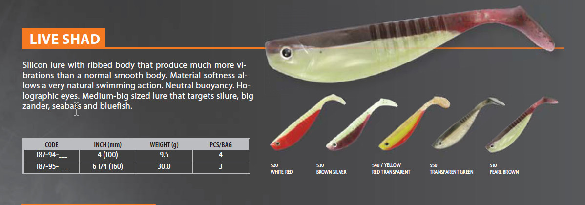 Live Shad   4 inch and 6 inch  ribbed body for extra vibration.