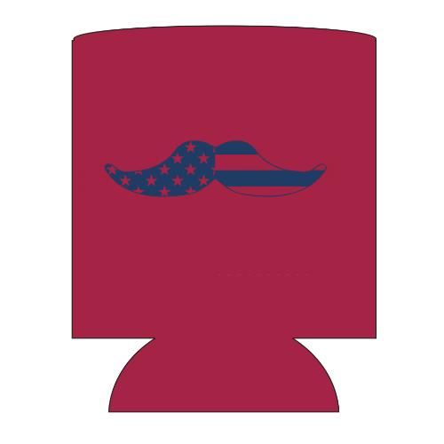 EoY Koozie - Merican Mustache (Red) 00291