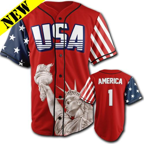GH Baseball Jersey - USA #1 (Red) J-LERA1-1CR