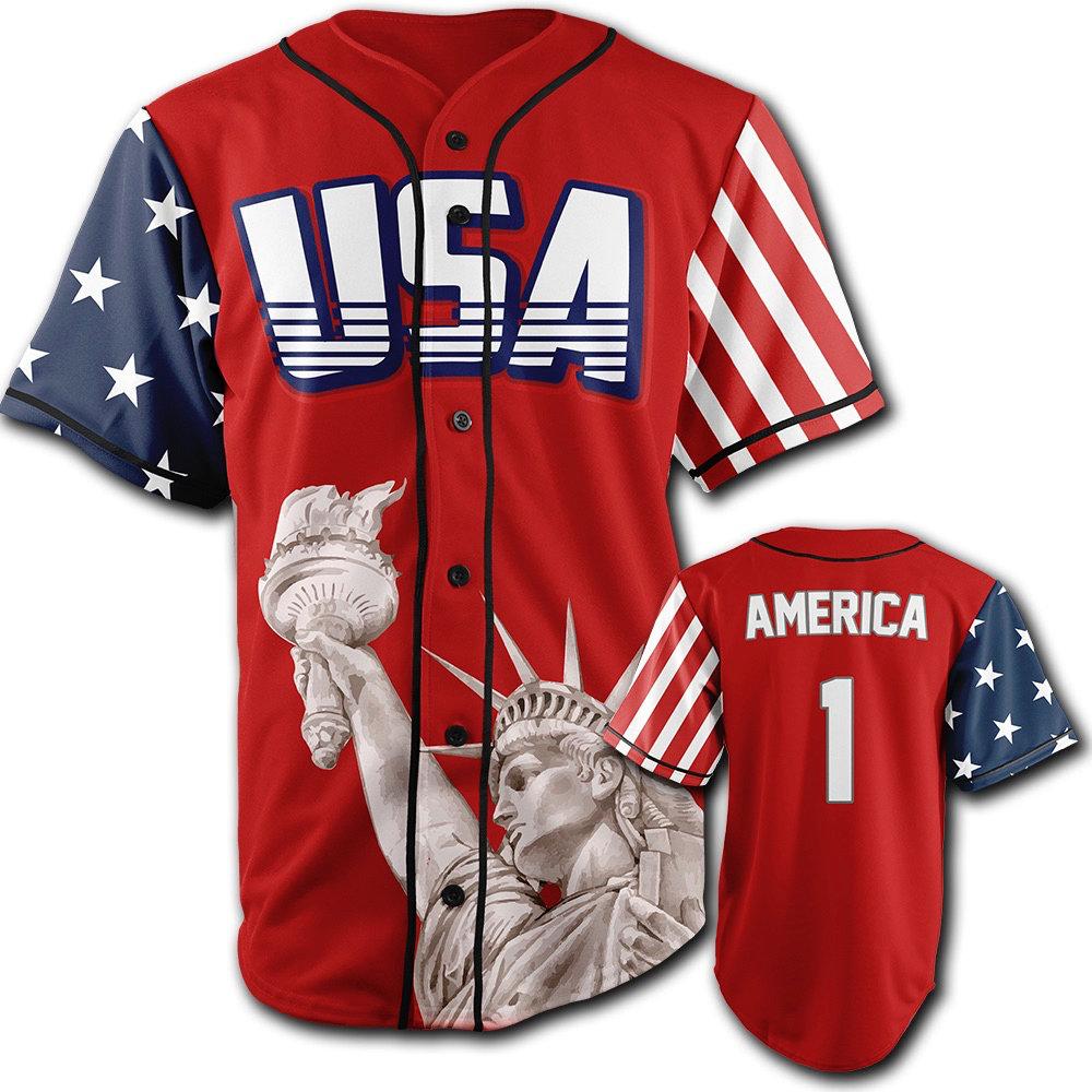 GH Baseball Jersey - USA #1 (Red)