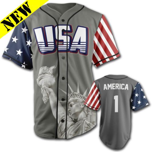 GH Baseball Jersey - USA #1 (Grey) J-LEGA1-1CR