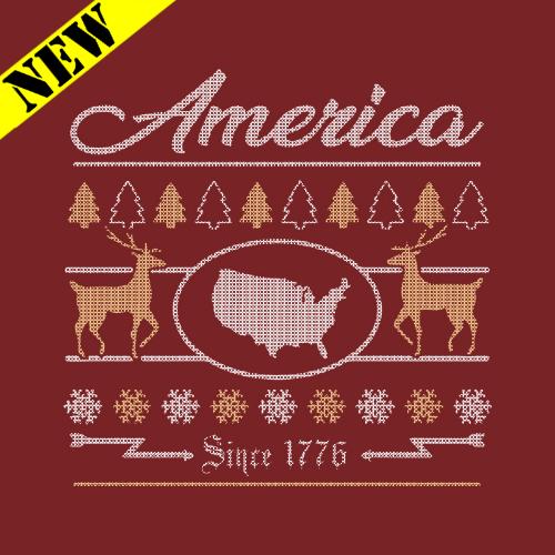 T-Shirt - Christmas Sweater - America 1776 PB-SV-329577CR