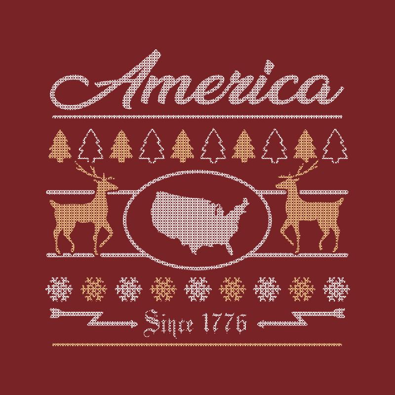 T-Shirt - Christmas Sweater - America 1776