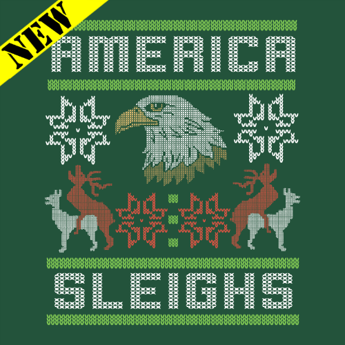 T-Shirt - Christmas Sweater - America Sleighs PB-SV-309757CR