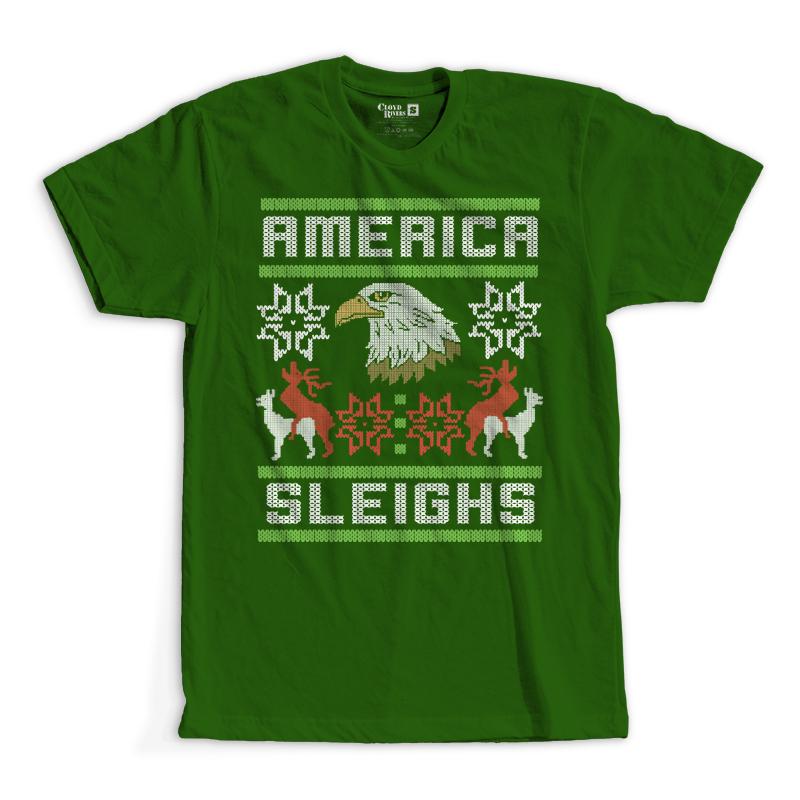 T-Shirt - Christmas Sweater - America Sleighs