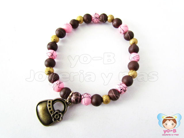 Pulsera resorte CAUCHO ROSA Y CAFE BOLSA