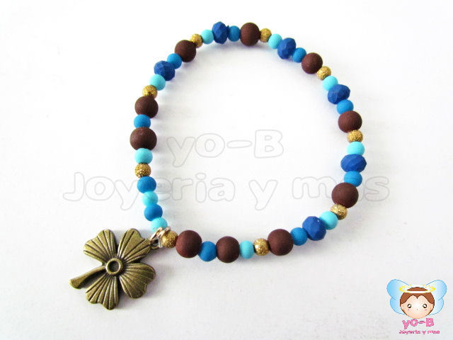 Pulsera resorte CAUCHO AZUL CAFE TREBOL
