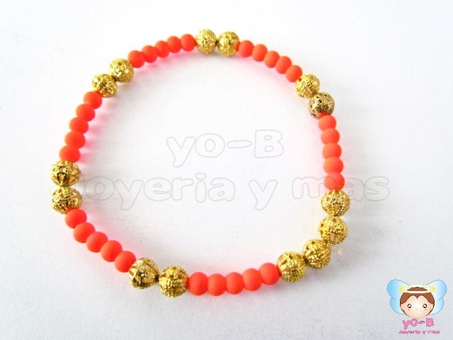 Pulsera resorte CAUCHO DIAMANTADO Y NARANJA