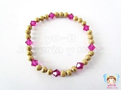 Pulsera resorte CAUCHO DIAMANTADO CRISTAL ROSA