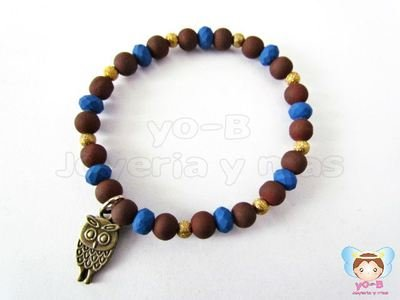 Pulsera resorte CAUCHO AZUL CAFE Y BUHO