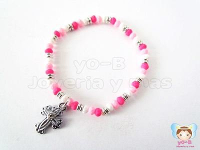 Pulsera resorte CAUCHO ROSA BLANCO Y CRUZ