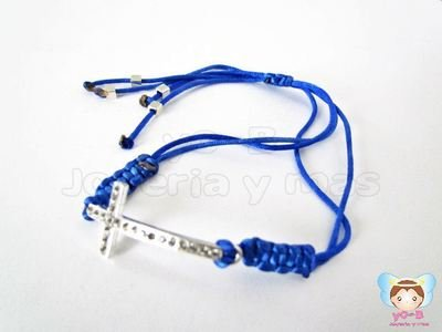 Pulsera LISTON AZUL REY Y CRUZ DIAMANTADO
