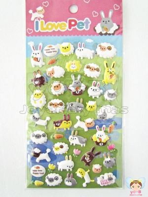 Sticker Borregos y conejos PUFFY 3D