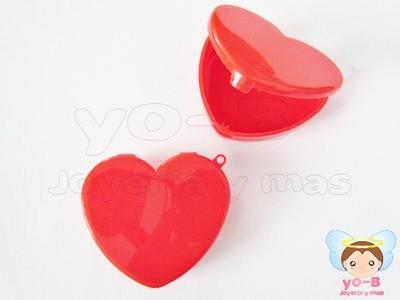 Caja de plastico corazón ROJO