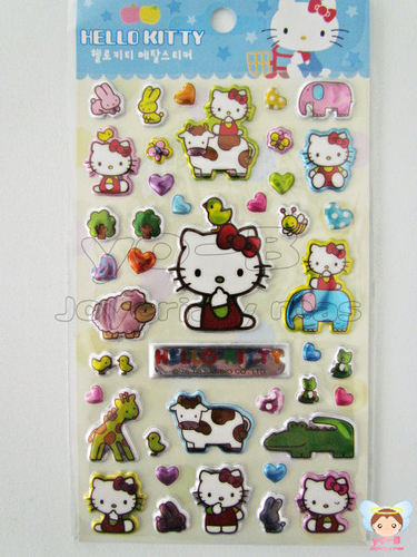 Sticker Kitty con animalitos  (original con holograma)