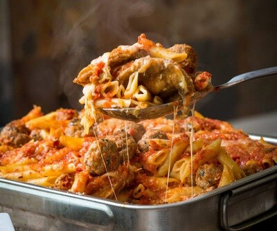 Baked Penne Marinara with Meatballs Family Dinner