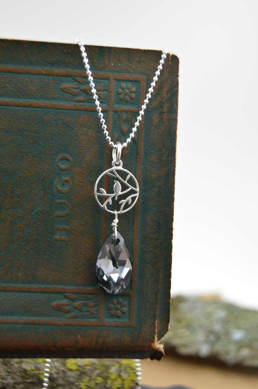 Swarovski Crystal Sparrow silver necklace -matching earrings available