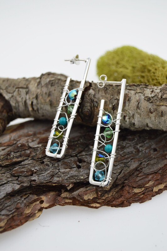 Sterling Silver Linear Post Earrings With Wire Woven Crystals/gems