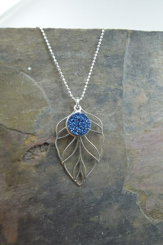 Druzy Quartz Leaf Silver Necklace - Matching pieces available