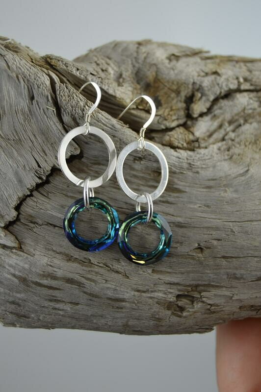 Swarovski Crystal Cosmic Ring Earrings -Sterling silver -matching necklace available