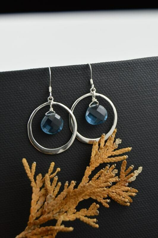London Blue Topaz Organic Silver Earrings (Matching necklace available)