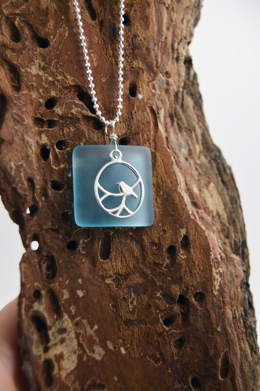 Seaglass Silver Necklace With Nightingale - Matching pieces available
