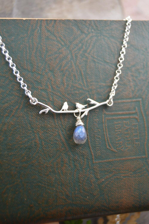 Silver Lovebirds Necklace With Gemstone Drop (Amethyst or Labradorite)