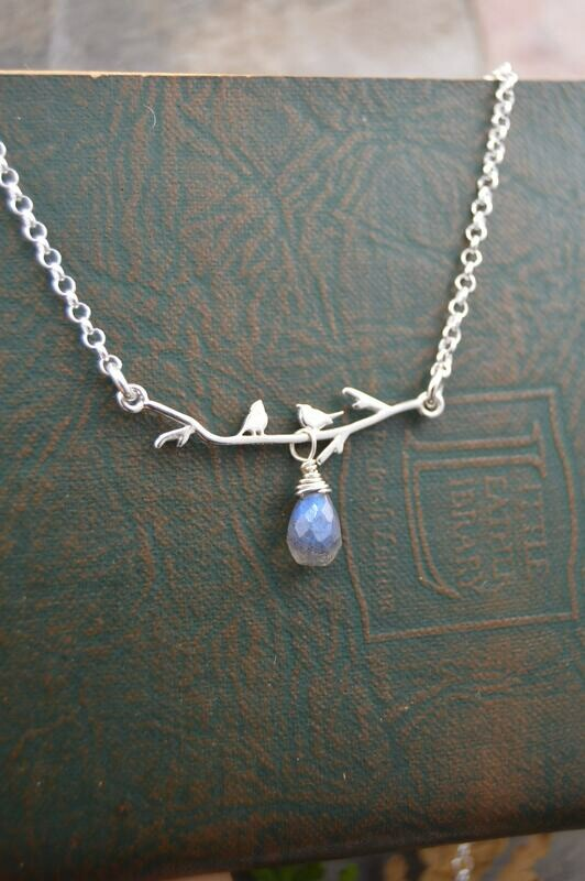 Silver Lovebirds Necklace With Gemstone Drop (Amethyst or Labradorite)